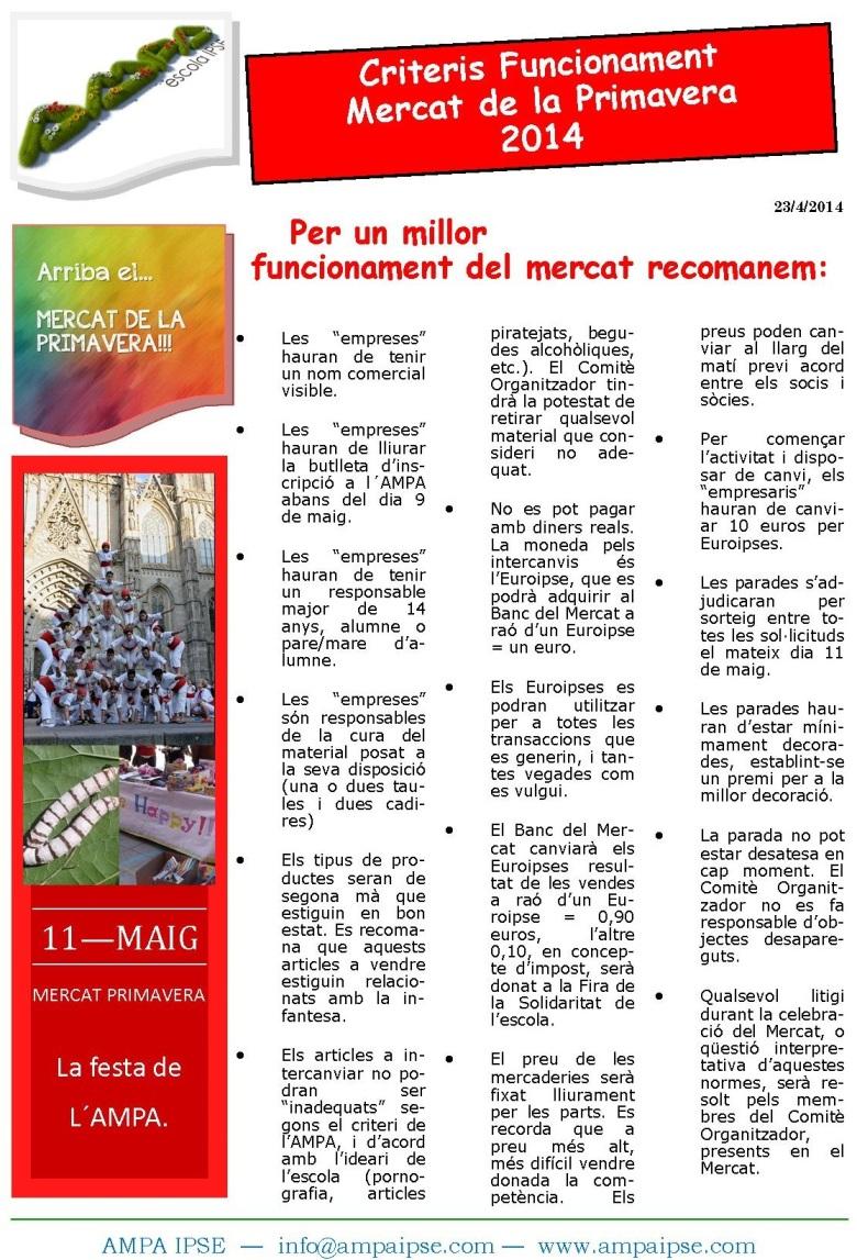 Inscripció Mercat Primavera 2014 normes